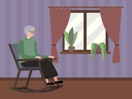 Grandmother sits by the window in a rocking chair. In minimalist style Cartoon flat raster