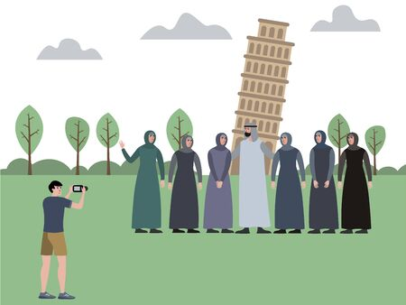 Muslim family, man with a harem. Photographed against the background of attractions, the Leaning Tower. In minimalist style Cartoon flat raster