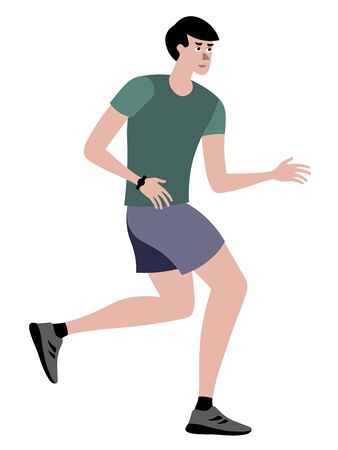 Athlete, a man on a run. In minimalist style Cartoon flat raster, isolated on white background