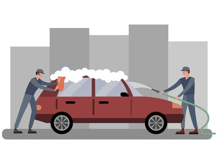 Car wash, two employees wash the automobile in red. In minimalist style Cartoon flat raster