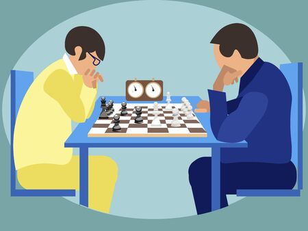 Sports for smart. Chess players at competitions, tournament. In minimalist style Cartoon flat raster Stok Fotoğraf