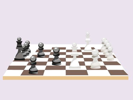 Chess board with figures, game. In minimalist style Cartoon flat raster