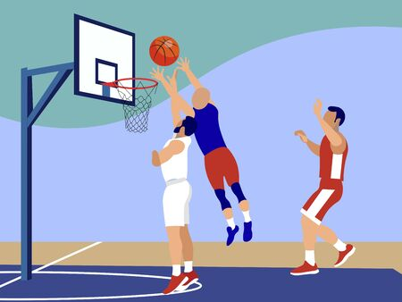 Basketball, sports game. In minimalist style Cartoon flat raster Stok Fotoğraf