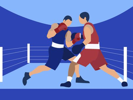 Competition boxing, two male boxers. In minimalist style Cartoon flat raster Stok Fotoğraf