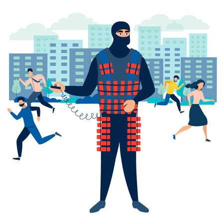 Terrorist threatens society to detonate a bomb. In minimalist style Cartoon flat raster