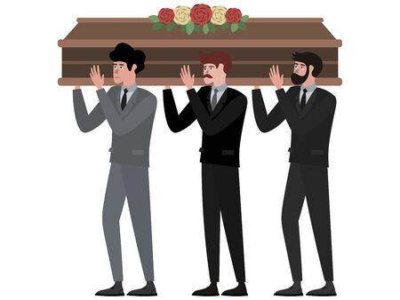 The funeral ceremony, men carry the coffin. In minimalist style Cartoon flat raster, isolated on white background