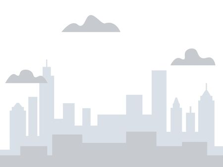 Gray background, view of the city. The buildings are tall. In minimalist style Cartoon flat raster