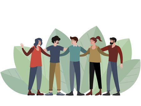 Five people, a group of friends posing for a photo. In minimalist style Cartoon flat raster