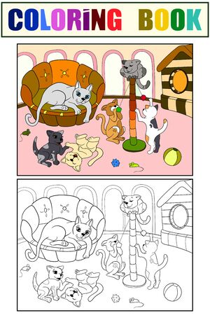 Childrens color and coloring book cartoon family on nature. Mom cat and kittens children