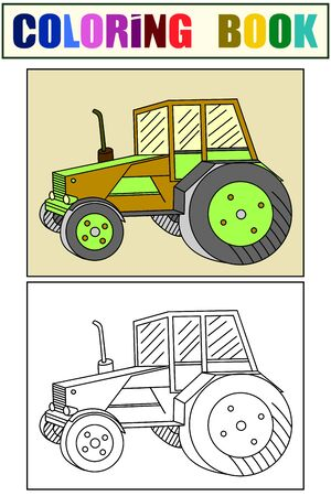 Children coloring and color. Agricultural transport, tractor. Vector Çizim