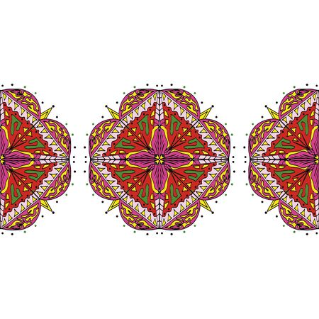 Seamless, colored mandala. National pattern, red color. Cartoon vector Çizim