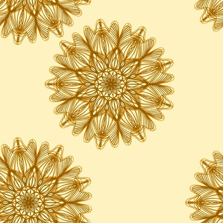 Seamless pattern. Color illustration antistress, flower like a mandala. Vector orange retro Çizim