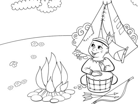 Children drawing, coloring. Theater scene, boy plays the role of Indian near fire and wigwam. Cartoon vector Ilustración de vector