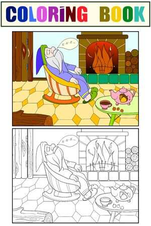 Childrens coloring and color book cartoon. The interior of the house, the fairy dwarf sleeps near the fireplace.