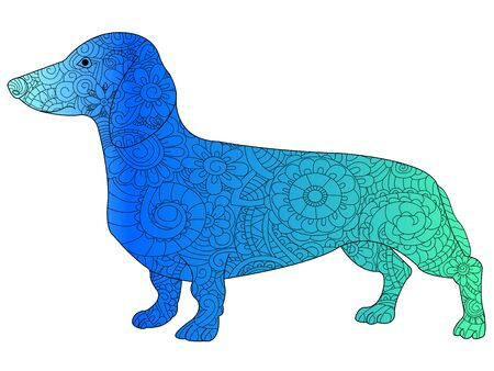 Dachshund color book zen for adults vector