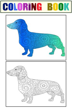 Dachshund color and coloring book zen for adults vector