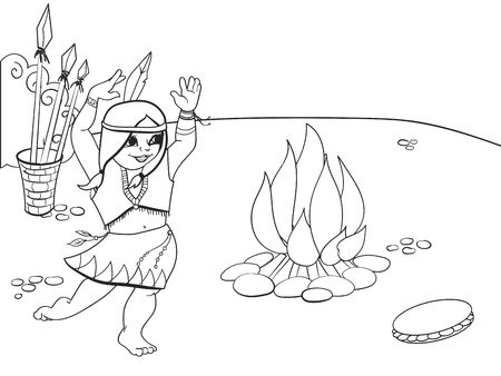 Girl dancing near the fire. Indian woman, holiday costume. Drawing vector