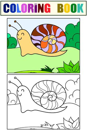 Children color and coloring, slug. Snail in the nature. Vector illustration Çizim