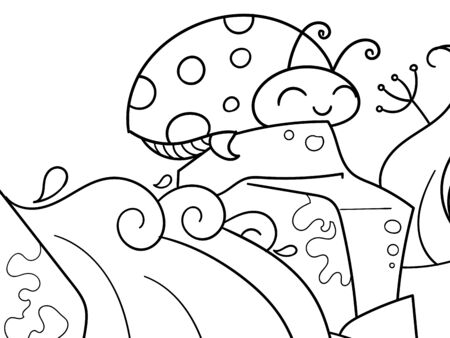 Coccinellidae. Children coloring. Black lines, white background. Insect, ladybug on a stone. Vector Çizim