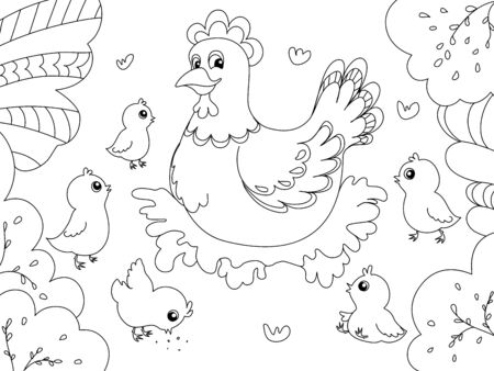 Children coloring. Hen mom with chickens. Black lines, white background. Vector illustration.  イラスト・ベクター素材