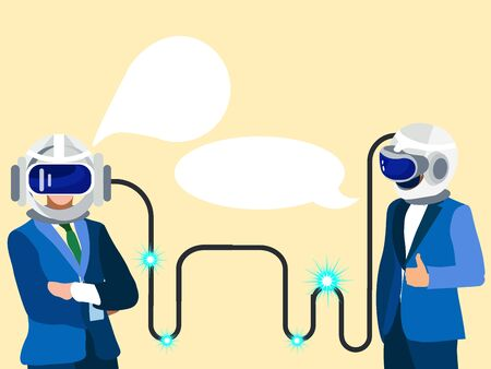 Technologies of the future. Two businessmen communicate in thought. In minimalist style Cartoon flat vector