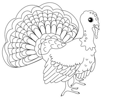 Children coloring. Farm bird, turkey. Vector cartoon Çizim