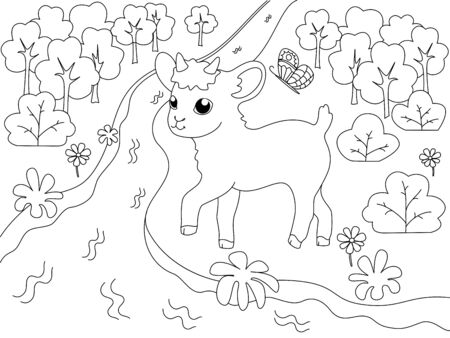 Children coloring book, farm animal. Goatling on the river bank, meadow. Vector cartoon illustration