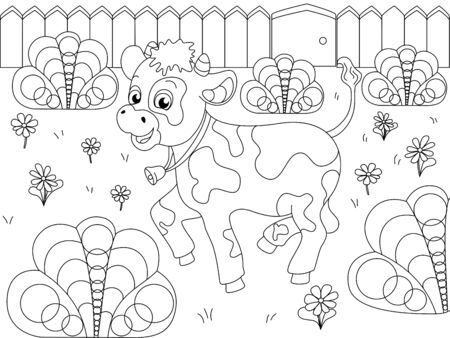 Children coloring, farm animal. The calf plays in the clearing. Vector cartoon illustration  イラスト・ベクター素材