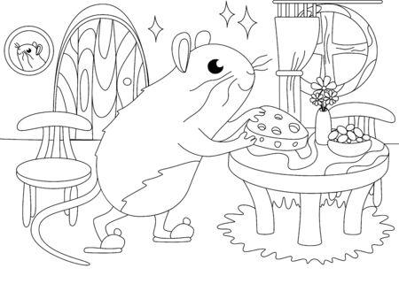 Children coloring. Mink mouse, home interior. Vector cartoon Çizim
