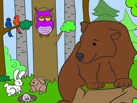 Colorful picture, animals in the forest. Bear, rodents and birds. Vector illustration