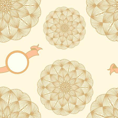 Seamless pattern. Color illustration antistress, flower like a mandala. Vector orange retro placeholder