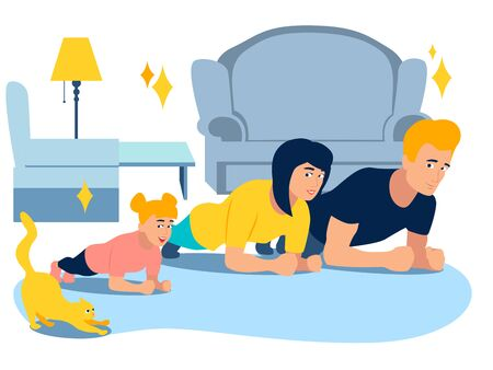 Exercise Plank. Sports family and animals. In minimalist style Cartoon flat raster Illustration.