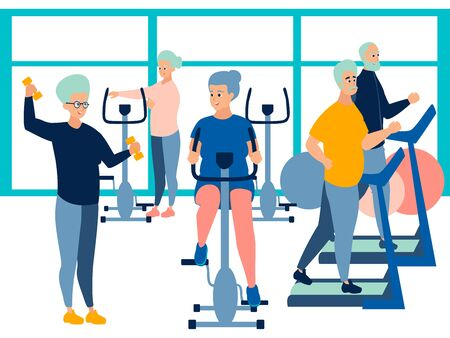 People, pensioner in the gym. training on simulators. In minimalist style Cartoon flat raster Illustration.