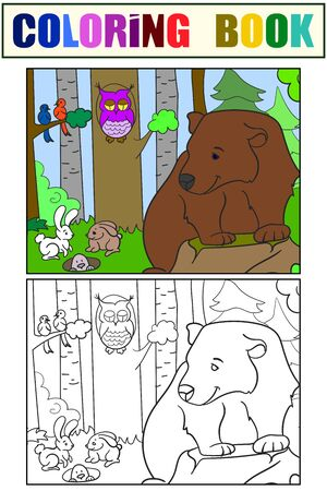 Colorful and coloring picture, animals in the forest. Bear, rodents and birds. Vector illustration