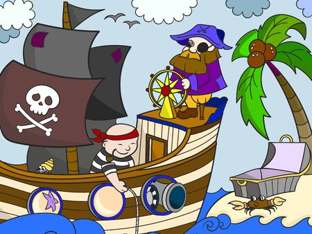 Sea pirates on the ship. The captain of the ship at the helm. Children picture. Vector illustration