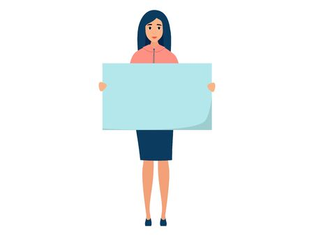 Office employee, a woman holding a blank poster in front of him. In minimalist style. Cartoon flat vector illustration Çizim