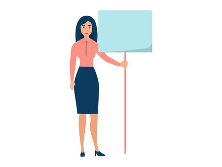 Office worker, woman with blank poster near. In minimalist style. Cartoon flat vector illustration Çizim
