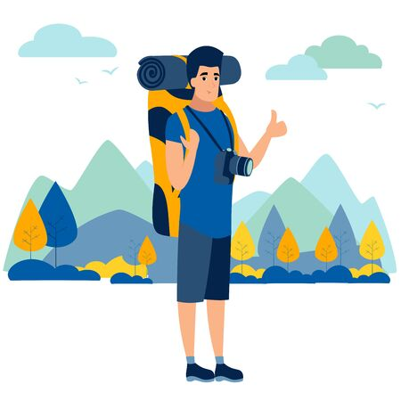 Male tourist. In minimalist style. Cartoon flat raster Illustration