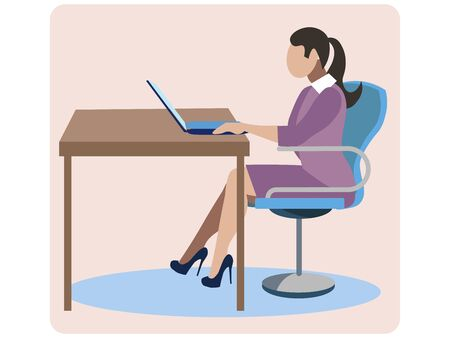 The girl at the desk. Work on the Internet. In minimalist style. Cartoon flat raster illustration