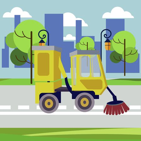 Sweeper machine. Equipment for industrial street cleaning. In minimalist style. Cartoon flat raster illustration