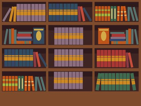 Interior library room raster colored. A set of books. The design of the room for reading and peace of mind. In minimalist style. Cartoon flat