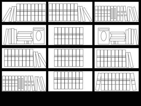 Interior library room raster coloring. A set of books. The design of the room for reading and peace of mind. In minimalist style. Cartoon flat