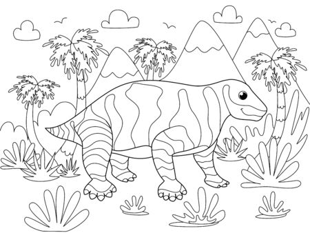 Animal moschops. Children coloring. Black lines, white background. Cartoon vector illustration