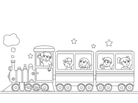 Children coloring, train with babies. Black lines, white background. Cartoon vector