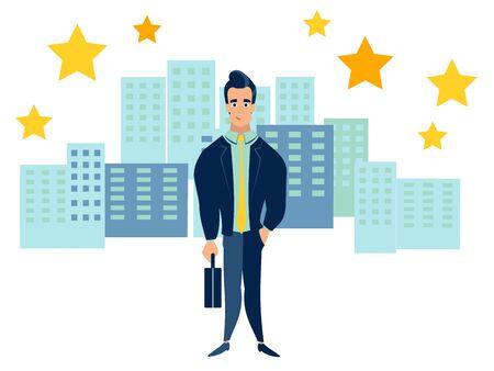 Office employee on the background of the metropolis, city. In minimalist style. Cartoon flat vector illustration