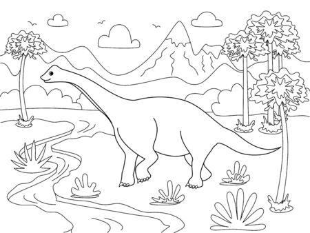 Diplodocus Animal. Children coloring. Black lines, white background. Cartoon vector