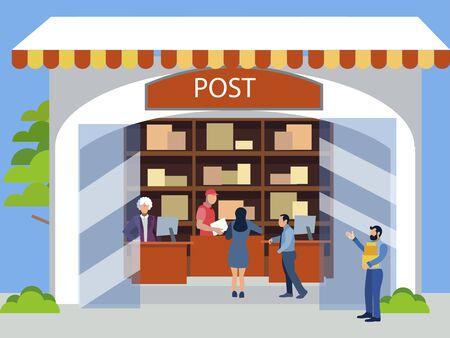 Postal office. Receiving postal parcels, shipments. In minimalist style. Cartoon flat raster Illustration
