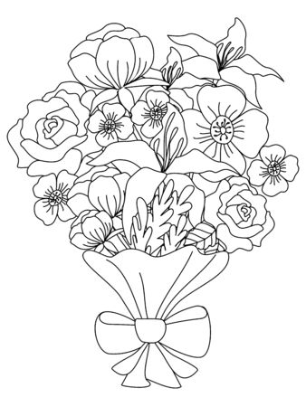 A bouquet of flowers for the holiday. Children coloring. Black lines, white background. Cartoon vector Иллюстрация