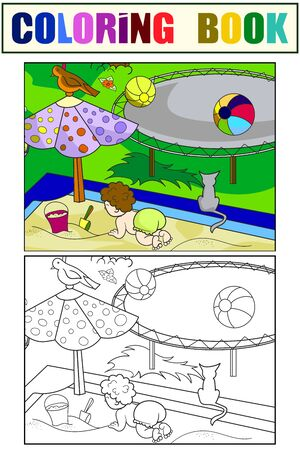 A child plays in the yard, in the sandbox. Set children coloring book and color picture.