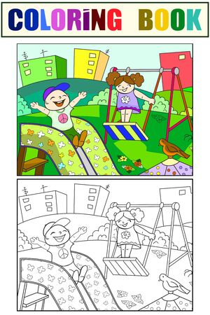 Playground, children play in the yard. Set children coloring book and color picture. Illustration 일러스트